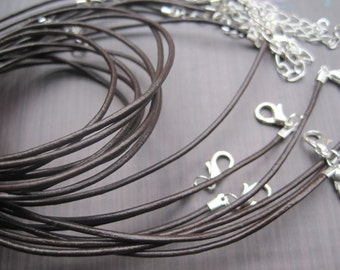 Handmade new style--Very small ends--Silver plated findings--10pcs 16-18 inch adjustable 1.5mm brown genuine/real leather necklace cord