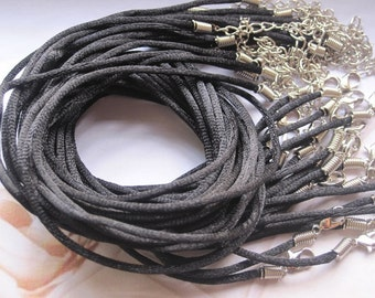 Promotion/100pcs 20-22 inch adjustable 2mm black satin necklace cord with lobster clasp