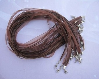 50pcs 18-20 inch adjustable brown ribbon necklace cord with lobster clasp