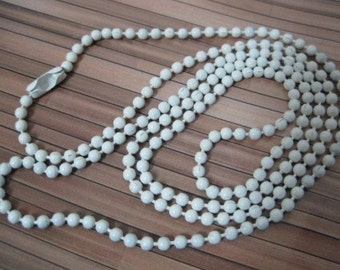 100pcs 2mm 27 inch white ball necklace chain with matching connector