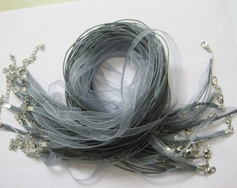 20pcs 18-20 inch adjustable gray ribbon necklace cord