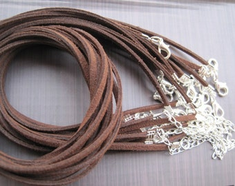 Perfect for small anakuru bails/20pcs 3mm 18-20 inch adjustable brown SUEDE LEATHER necklace cord with silver plated lobster clasp