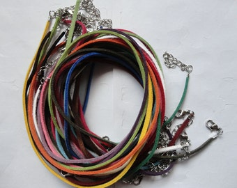 perfect for small bails--50pcs 3mm 16-18 inch adjustable assorted color(20 colors) suede leather necklace cord