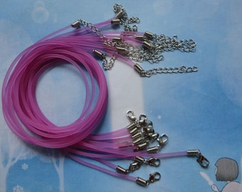 20pcs 2.0mm 17-19 inch adjustable purple red rubber necklace cord with lobster clasp and extension chain
