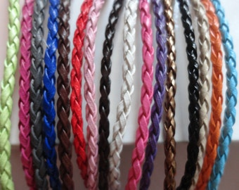 32pcs 3mm 16-18 inch adjustable assorted(16colors) faux braided leather necklace cord