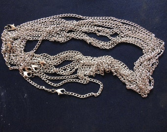 10pcs 4x3mm 18 inch silver  chain necklace  with lobster clasp