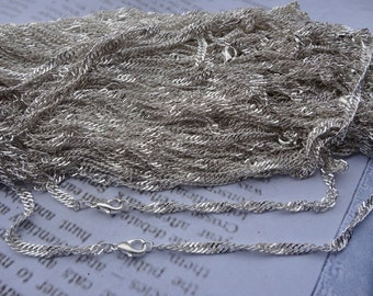30pcs 3mm 17 inch silver plated twist wave  chain necklace