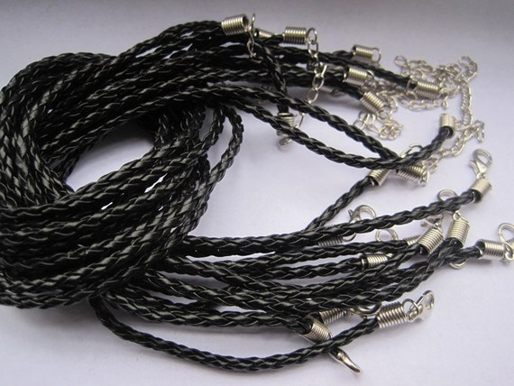 50pcs 3mm 20-22 inch adjustable black faux braided leather necklace cord