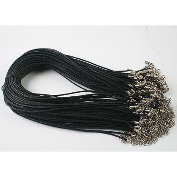 Sale--100pcs 1.5mm 16-18 inch adjustable black waxed cotton necklace cord with lobster clasp