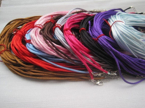50pcs 16-18 inch adjustable 2.0mm assorted color satin necklace cord with lobster clasp