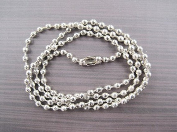 40pcs 2.4mm 24 inch stainless steel ball necklace chain with matching connector