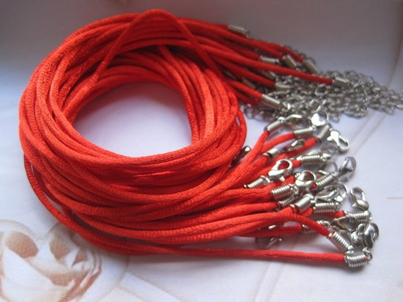 Promotion/50pcs 16-18 inch adjustable 2mm red satin necklace cord with lobster clasp