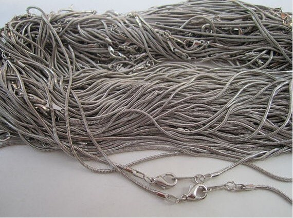 12pcs 1.2mm 17 inch silver gray snake chain necklace  with lobster clasp