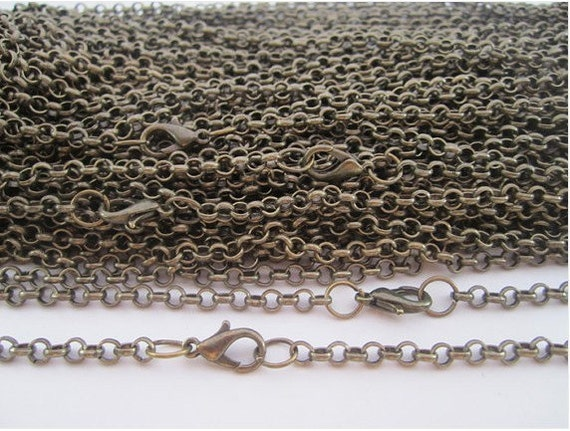 10pcs 3x3mm 27 inch antique bronze  chain necklace  with lobster clasp