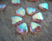 Heart Czech Glass Beads Fire Polished Faceted  12mm Clear Rosaline with Iridescent AB (10pcs)