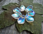 Leaf Beads Czech Glass Beads Large Chunky 9X14mm Clear Crystal with Iridescent AB (12pcs)