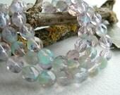 Faceted Round Czech Glass Beads Fire Polished Bicolour Alexandrite Opal & Chrysoprase Opal 8mm (20pcs)
