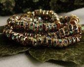 Premium Czech Rhinestone Rondelles Crystal AB/Gold 5mm (10pcs)