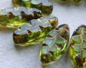 Table Cut Beads Czech Glass Beads Carved Spindle Leaf Small Light Olive with rustic Picasso 18x8mm (10pcs)