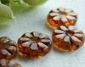 Flower Beads Czech Glass Beads Table Cut Daisy Coin Small Rosaline Opal with rustic Picasso 12mm (10pcs) NEW