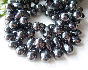Drop Czech glass beads 6x9mm classic JET with hematite finish (30pcs)