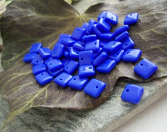 Lentil Czech Glass Beads Squared Squarelets Vibrant Opaque Cobalt Blue 6mm (50pcs)