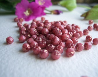 Cathedral Czech Glass Beads Fire Polished Faceted Tiny 4mm Opaque Dusky Pink with Bronze Edging (50pcs)