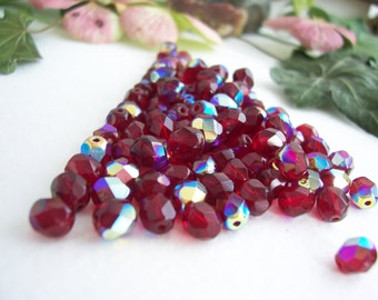 Fuchsia Glass Beads, 6mm, Czech Glass Beads, Fire Polished Faceted Beads, Fuchsia & AB  (30pcs)