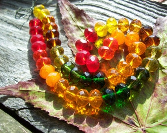 Faceted Rondelle Czech Glass Beads Spacers Fire Polished Faceted  6X9mm Harvest  MIX (24pcs)