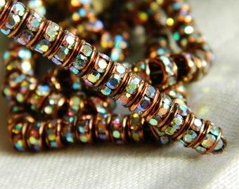Czech Rhinestone Rondelles Crystal AB/Antique Copper 5mm (10pcs)