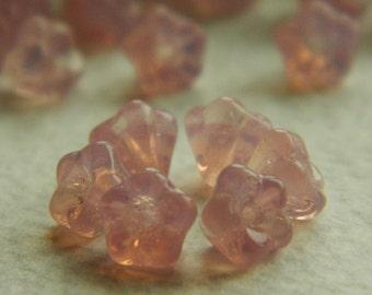 Flower Czech Glass Beads Baby Bell Warm Pink Opal 4x6mm (50pcs)