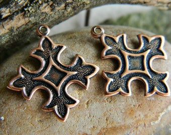 Brass Charms Stampings Cross Small  Antique copper  Plated Trinity Brass 18X20mm (3 pcs)