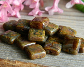 Flat Square beads Czech glass beads Small Earthy Brown/Olive with Rustic Brown PICASSO 8mm (20pcs)