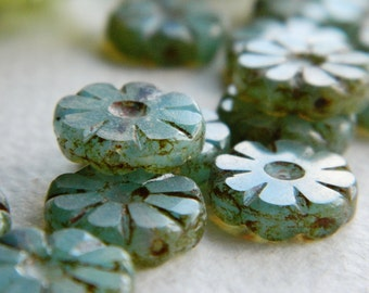Flower Beads Czech Glass Beads Table Cut Daisy Coin Small Light Blue Opal with rustic Picasso 12mm (10pcs) NEW