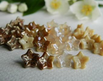 FLOWER Czech beads Glass 5-petal Trumpet Flower Small 6X9mm Ivory Mix (24pcs) NEW