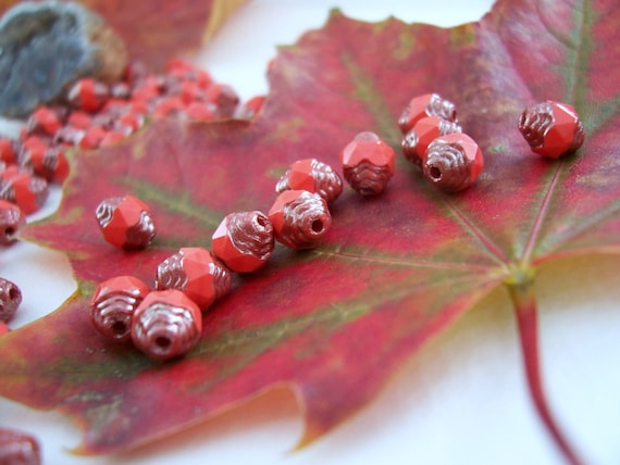 Faceted Cathedral Czech Glass Beads Fire  Polished 6x8mm Opaque Poppy  Red with Bronze (12pcs)