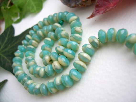 25 Czech Glass Fire Polished Faceted Rondelle Beads 4X7mm Beautiful Opaque Cream and Blue Opal