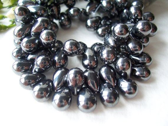 Drop Czech Glass Beads 6x9mm Classic JET with Luster (30pcs)