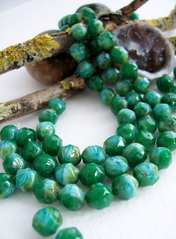 Baroque Czech Glass Beads IRREGULAR Round Faceted Marbled Emerald Green & Light Blue with Light Rustic Picasso 8mm (40pcs)