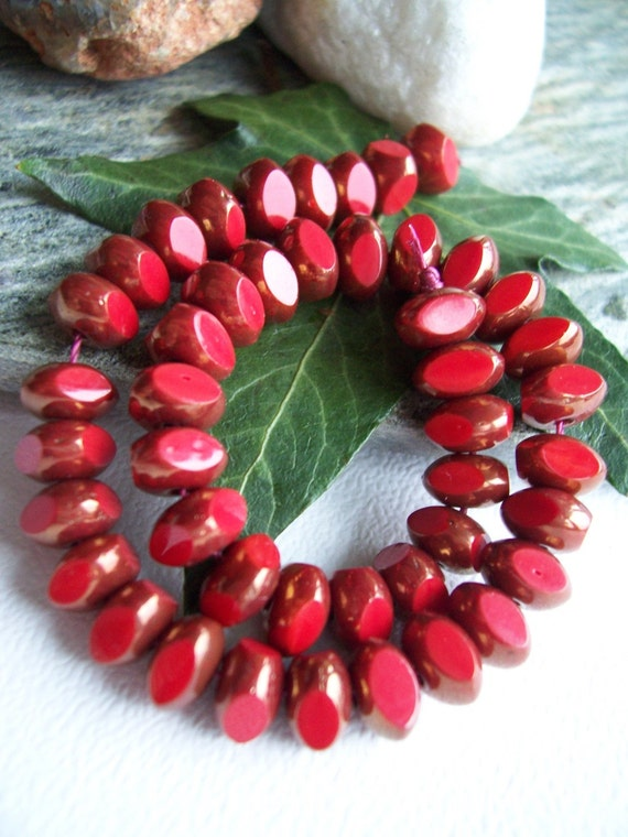 3-cut Czech Glass Beads Fire Polished Faceted  Rondelle Spacer 4X7mm Opaque Red with Bronze (15pcs) Last Lot