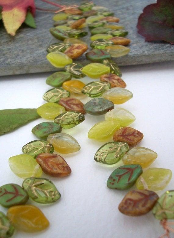 Czech Glass Beads Leaves  Fading Leaf MIX 12X7mm (50pcs)