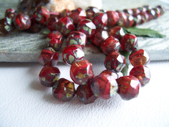 Faceted Baroque Beads Czech Glass Beads Fire Polished Irregular 7mm Marbled Red and Clear Crystal with Denim Picasso (25pcs) Last Lots