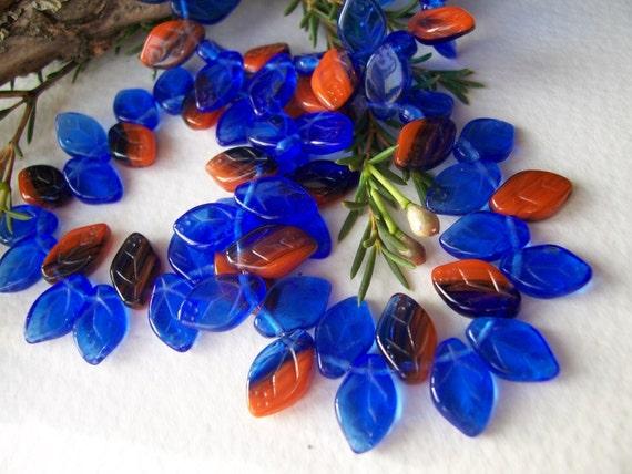 Leaf Beads Czech glass beads 12X7mm Cobalt and dark Orange mix (30pcs)