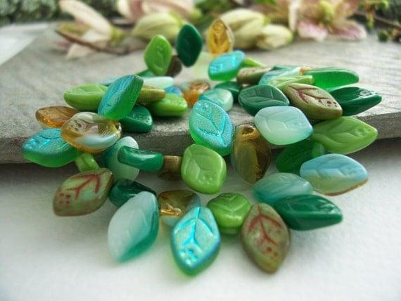 Leaf Czech Glass Beads Green Mix 12X7mm (36pcs) Last Lots