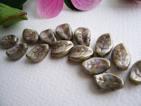 Leaf Czech Glass Beads Large Chunky Opaque Grey with Beige/Olive Picasso and Golden Luster 9x14mm (20pcs)