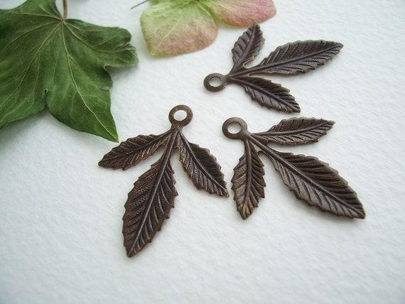 4 Brass Triplasian Leaf Charms/ Drops/Pendants 30x24mm Vntaj Brass VIN/PS015/May11