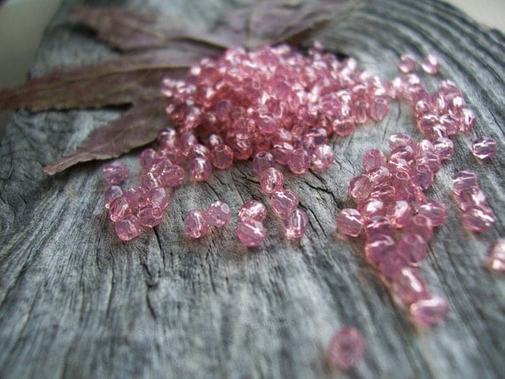Faceted Round Czech Glass Fire Polished Beads 3mm Padparadscha Opal (100pcs)