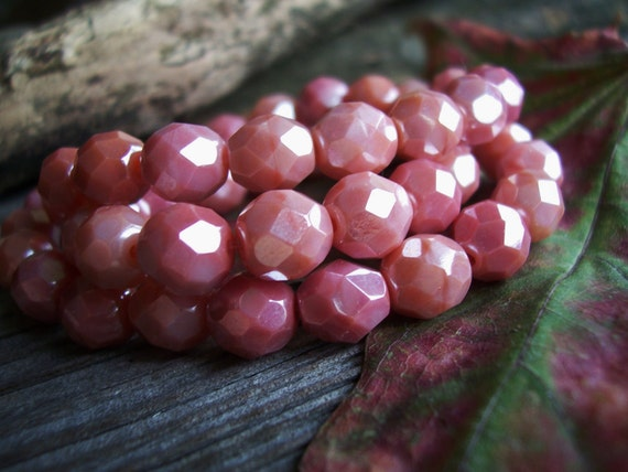 Czech Glass Fire Polished Round Beads 8mm Opaque Pink with Luster (20pcs)