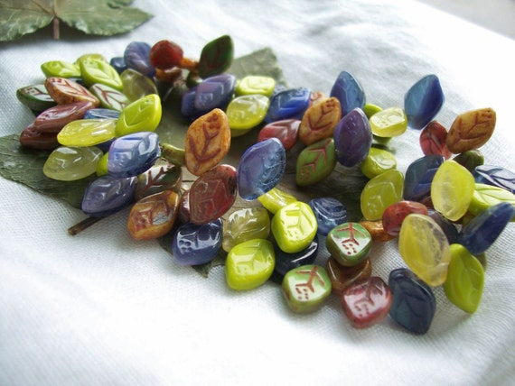 LEAF Beads Czech glass beads 12X7mm Lime/ Rusty Toffee/ Blueberry Mix (56pcs) Last Lots