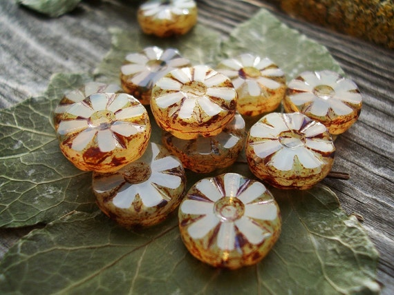 Table Cut Beads Czech Glass Beads Small Daisy Coin 12mm Crystal Opal with rustic Toffee Picasso (10pcs)